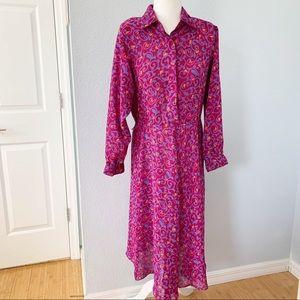 Raoul Long Sleeved Chiffon Midi Dress Sz 10